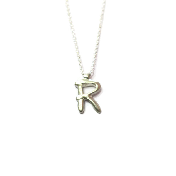 R - handwritten letter necklace