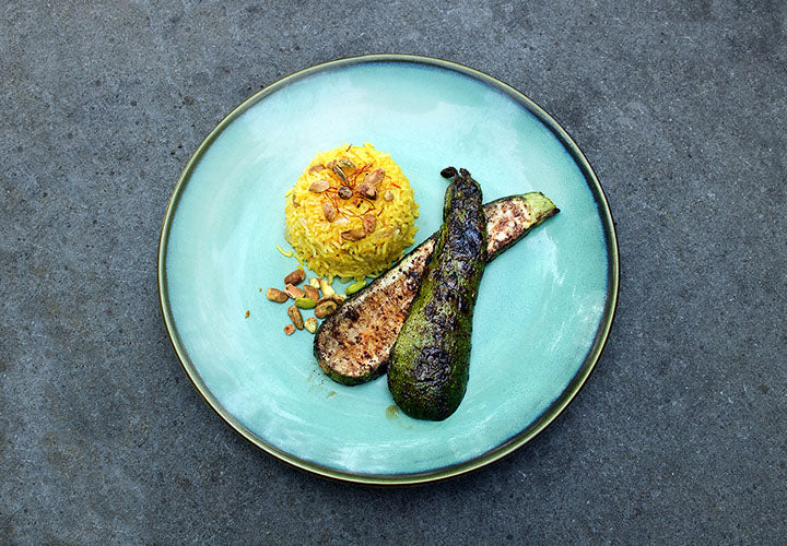 Afghani-style saffron rice and grilled zucchini