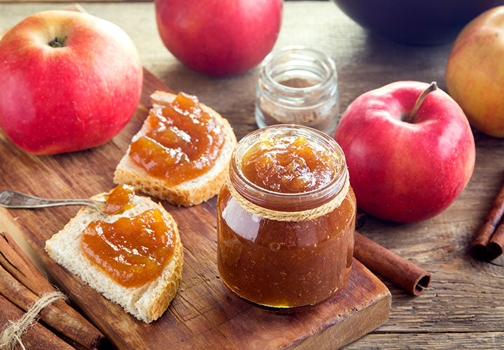 Apple butter recipes spiced with cinnamon and served on toasted bread.