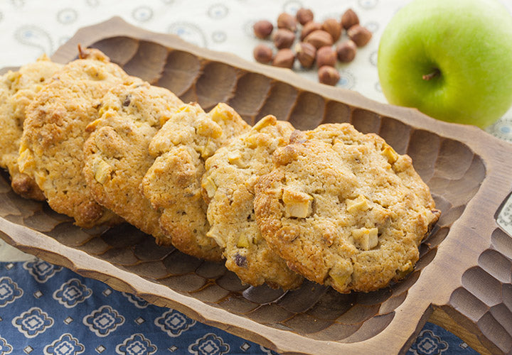 Easy cookie recipe made with fresh apple chunks and ground cinnamon.