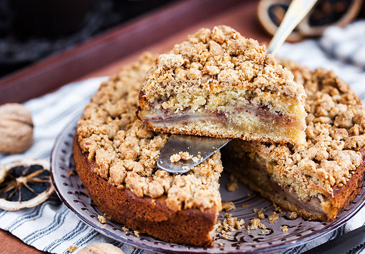 Apple-Ginger Streusel Coffee Cake