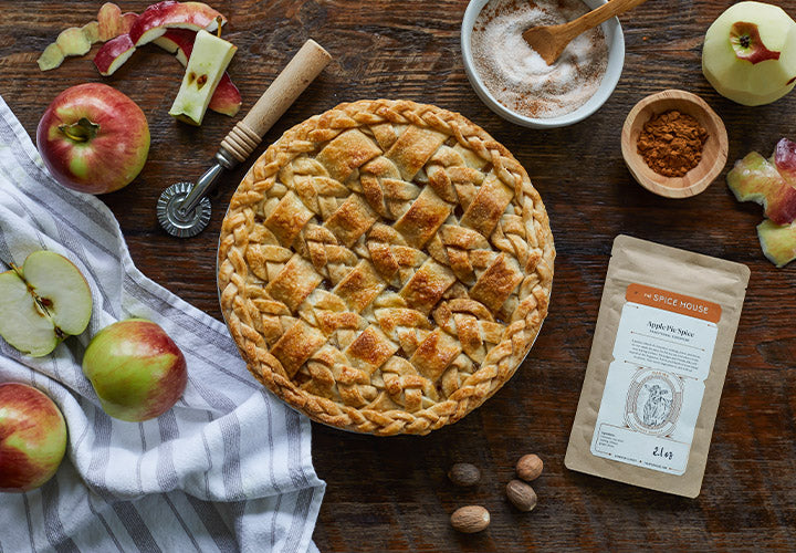 Gorgeous lattice apple pie made with fresh apple pie spice blend.