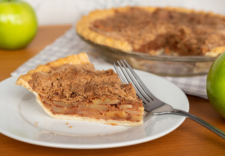 Delicious apple pie recipe with crumbly brown sugar topping.