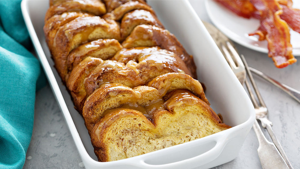 Baked French toast for breakfast with bacon