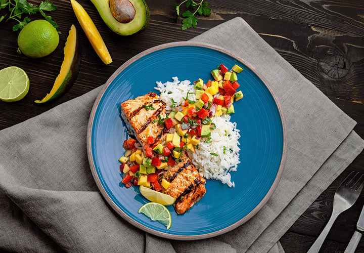 Caribbean Jerk Salmon with Mango Salsa