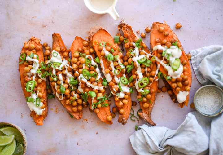 Chick Peas & Sweet Potatoes With Miso-Tahini Sauce