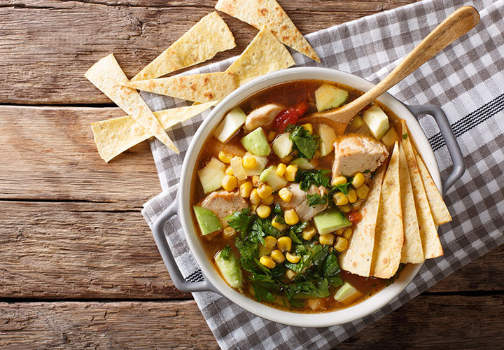 Chicken tortilla soup recipe made with fresh spices.