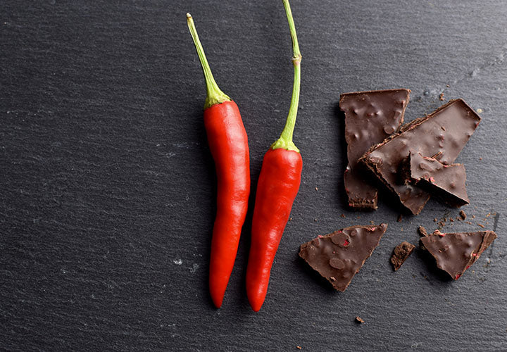 Chocolate dessert made with hot peppers, spicy!