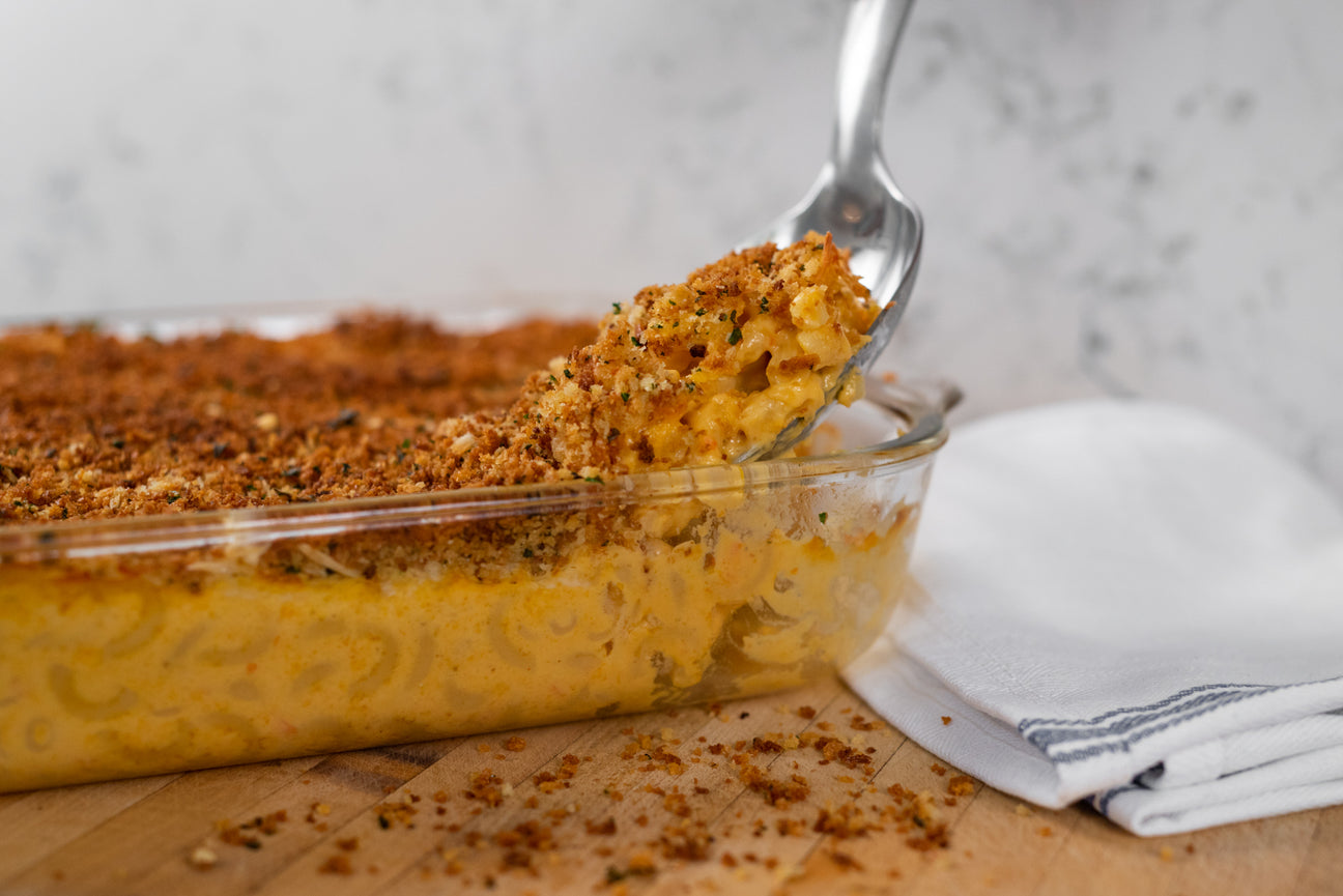 Classic mac and cheese recipe made with special spices.