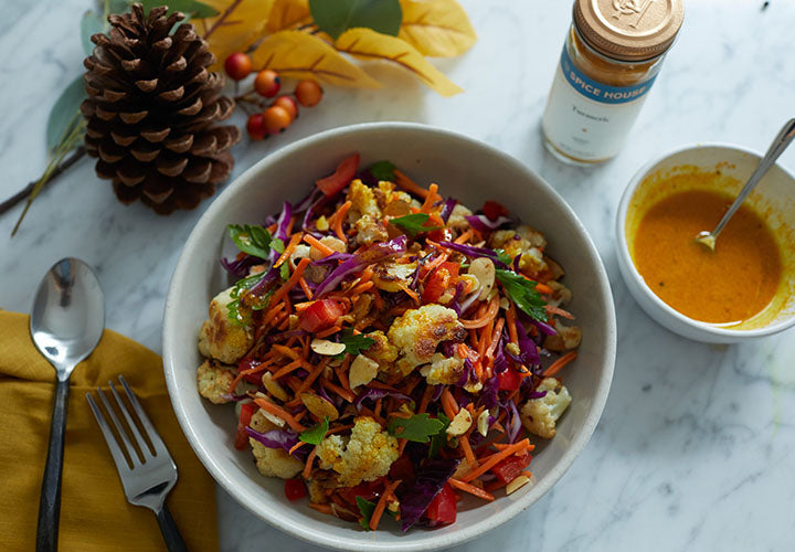 Fall Chopped Salad with Turmeric Honey Dressing