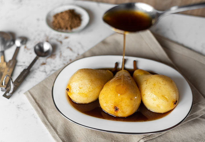 Pears poached in a garam masala syrup.