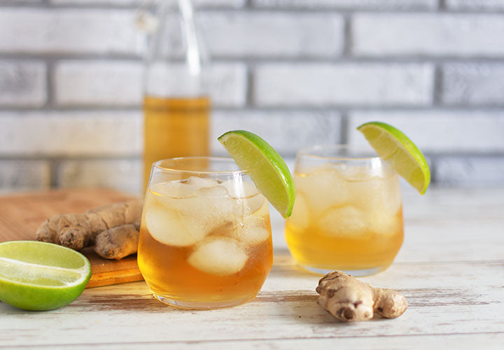 Alt Text: Homemade ginger ale recipe using dried ginger root and sugar syrup.