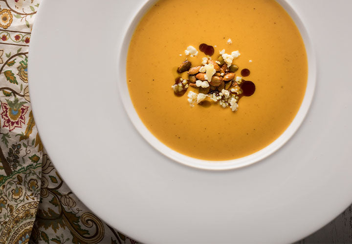 Delicate bisque soup made from pumpkin.