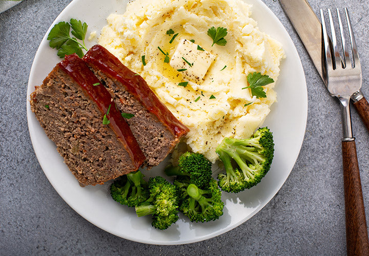 Savory Beef Meatloaf and Mashed Potatoes