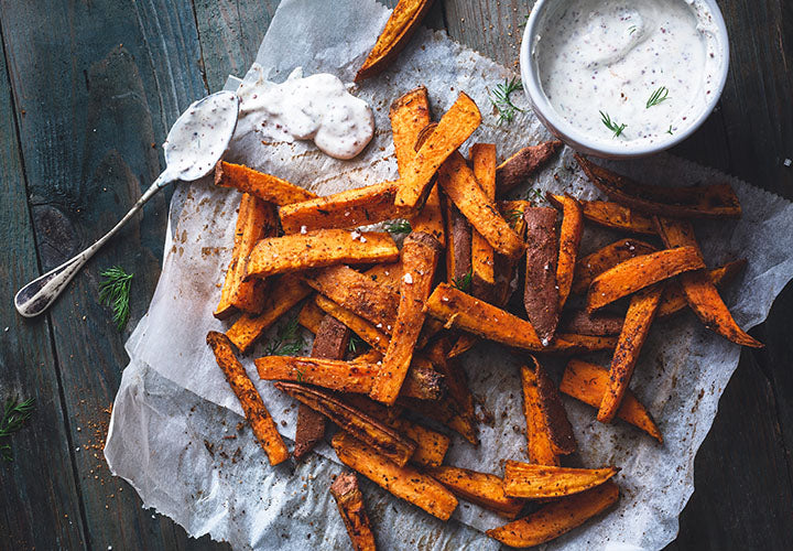 Oven baked sweet potato fries made with Moroccan spices