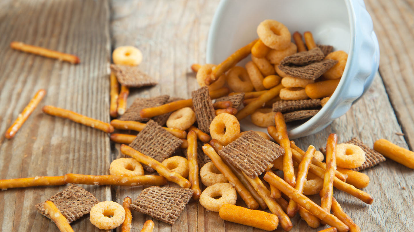 Homemade snack mix recipe. Holiday party snacks.