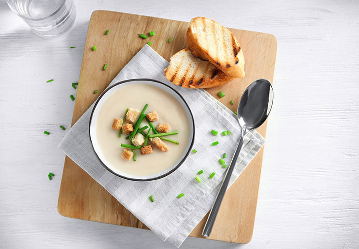 Creamy Potato Leek soup made with spice blends from The Spice House