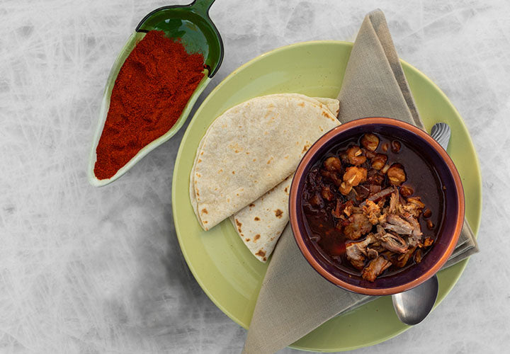 Posole New Mexican style with dried chiles.