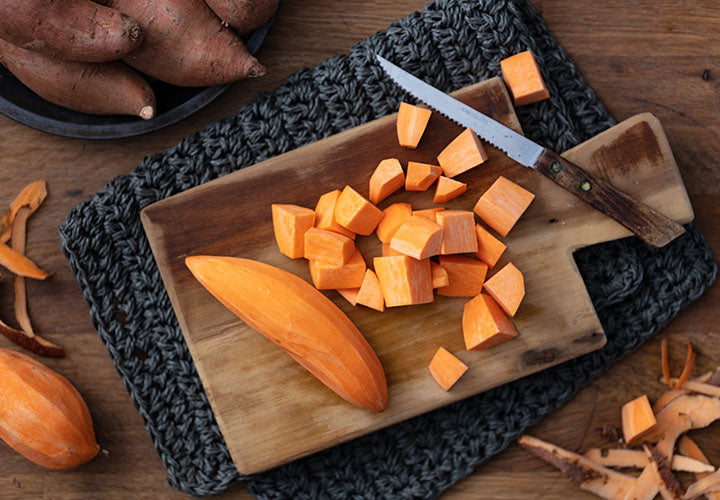 Diced sweet potatoes seasoned heavily with aromatic spices
