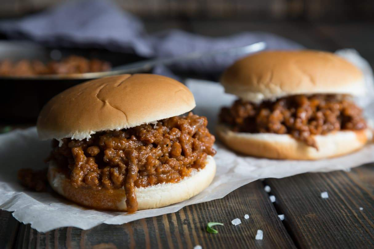 Sloppy Joes made with beef served on a hamburger bun.