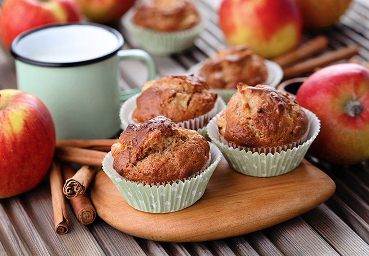 Freshly baked muffins made with real apple and aromatic baking spices.