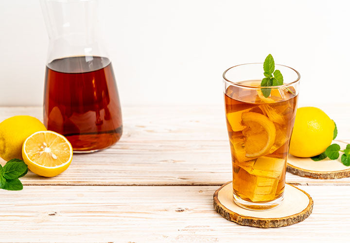 Iced tea made with fresh fruit juice and spices