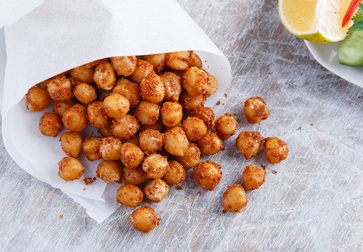 Spicy roasted chickpeas, crispy oven made garbanzo beans
