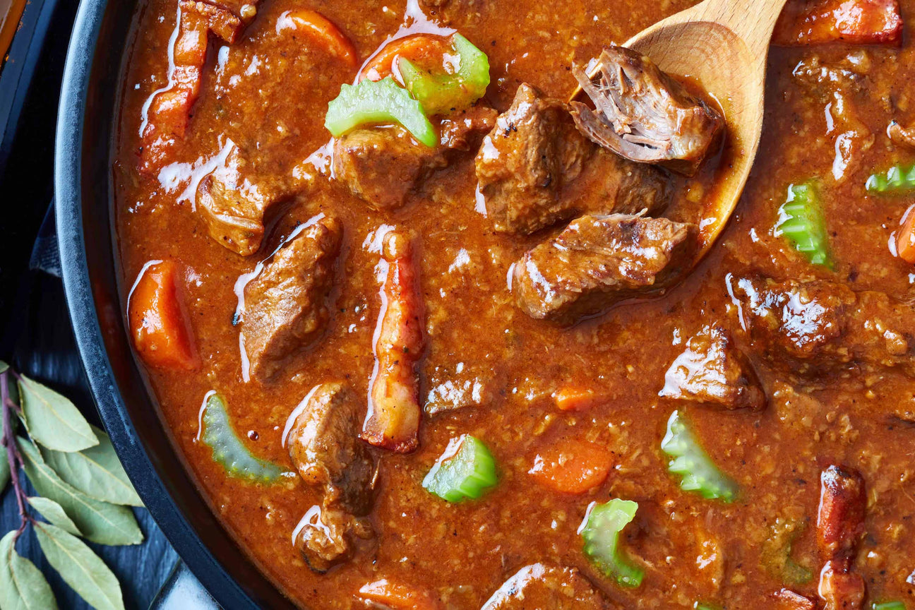 Lamb stew made with lots of spices and beer.