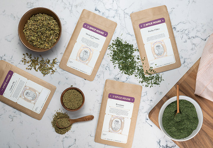 Dried herbs stored in Flatpacks for freshness and free shipping