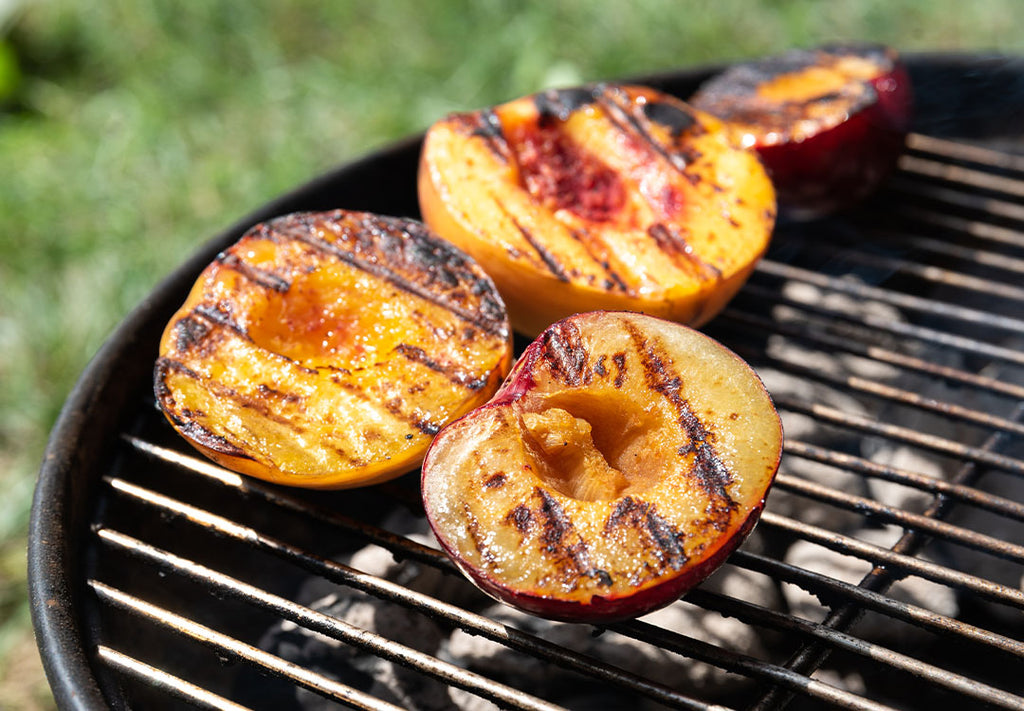 Grilling peaches with butter and Chinese Five Spice