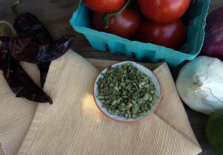 Mexican oregano and other salsa ingredients.