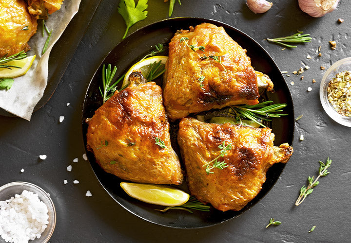 Mediterranean Herb chicken thighs baked in the oven for an easy dinner.
