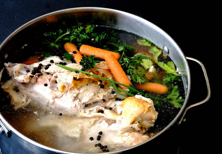 Homemade Turkey Stock with spices and herbs