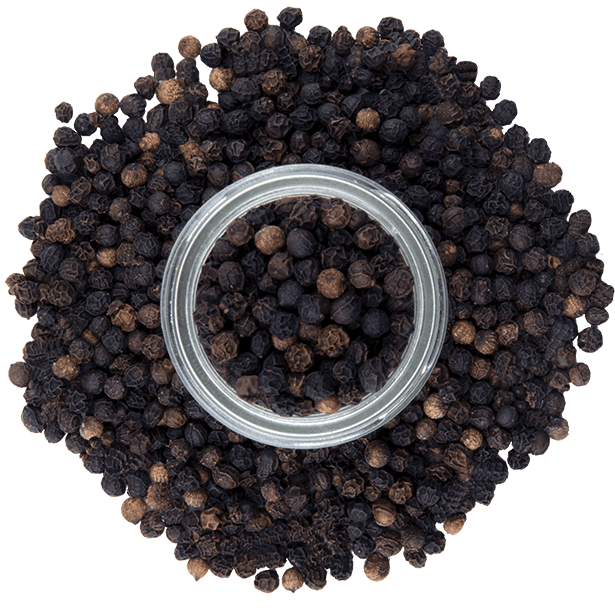 Tellicherry Peppercorns from above jar