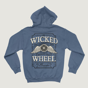 LABEL HOODIE - NO ZIPPER - INDIGO BLUE