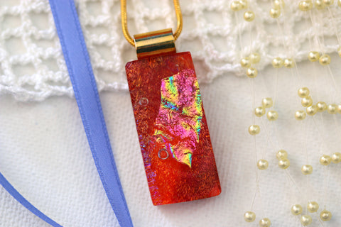 Raspberry Dichroic Pendant Necklace Fused Glass