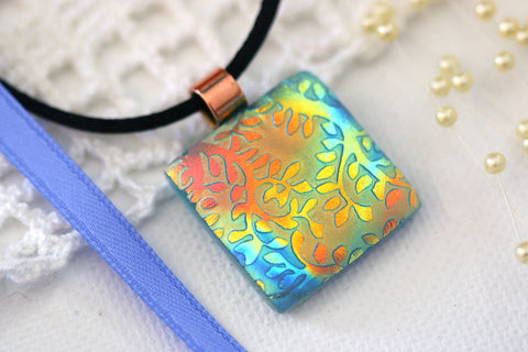 Satin Dichroic Glow Fused Glass Pendant