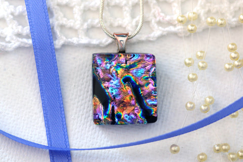 Small Necklace Pendant Dichroic Fused Glass