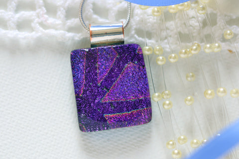 Purple Dichroic Fused Glass Pendant Necklace