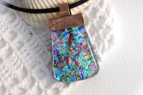 Copper Topped Dichroic Fused Glass Pendant Necklace