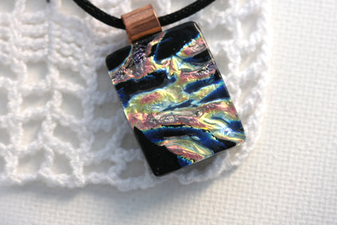 Copper Glow Dichroic Fused Glass Pendant