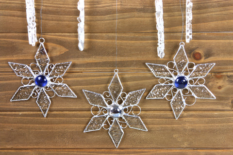 Stained Glass Snowflake Ornaments/ Sun Catchers
