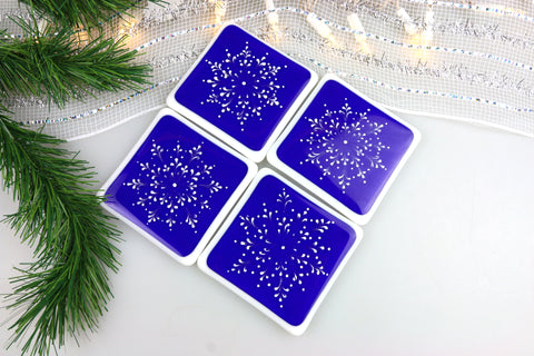 Snowflake Fused Glass Coasters