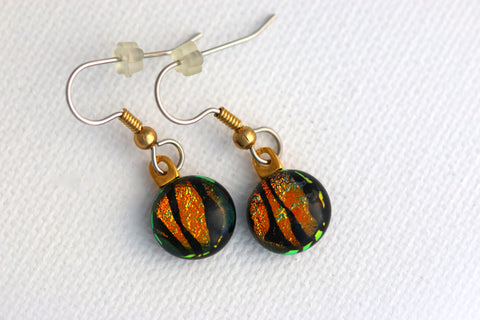 Mini Gold Animal Print Dichroic Fused Glass Earrings
