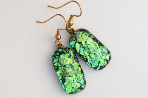 Green Flakes Dichroic Fused Glass Earrings