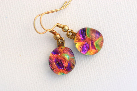 Mini Multi Colored Dichroic Fused Glass Earrings