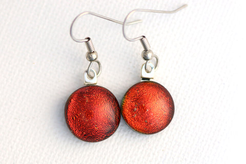 Red Dichroic Fused Glass Earrings