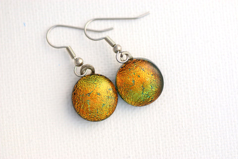 Orange Colored Dichroic Fused Glass Earrings
