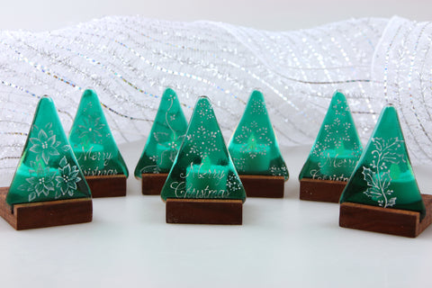 Handpainted Christmas Tree Fused Glass and Wood Luminary Tea Light Votive Holder