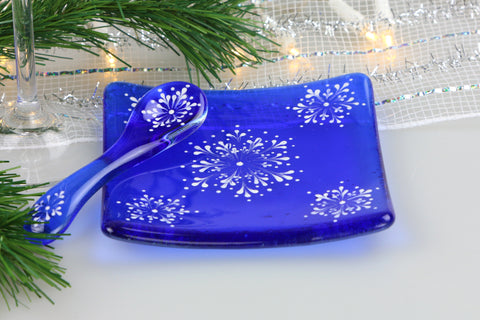 Hand Painted Snowflake Tea and Crumpet Set